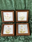 Four Framed Hand Painted Ceramic Tiles With Flowers 4' X 4'