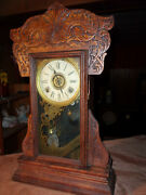 Antique Gilbert Nicely Crafted Gingerbread Mantel Clock- Runs Great