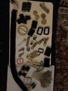 Vintage Antique Jewelry Lot - Musi Shoe Clips, Hair Combs, And More