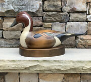 Wooden Bird Factory Hand Carved Painted Pintail Drake Signed Schwarzkopf + Stand