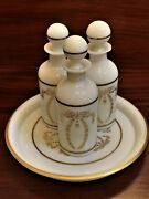 Vtg Portieux Vallerysthal Milk Glass Perfume Bottles W/ Stoppers And Vanity Tray