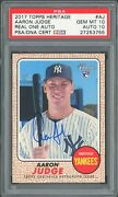 2017 Topps Heritage Aaron Judge Real One Autograph Rookie Rc Psa10/10
