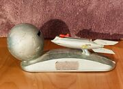 Vintage Space Age Mechanical Strato Bank Spaceship Rocket. Tested Works