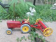 Excellent Dinky Toy All Metal Massey Harris Tractor W/ Hay Rake And Farm Trailer