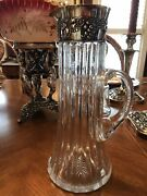 American Brilliant Period Cut Glass Pitcher/jug With Sterling Silver Collar