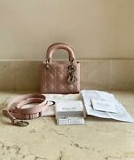 Authentic Christian Dior Mini Lady Dior Pink Patent Purse W/ Receipt Cards