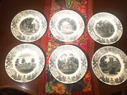 6 Bowdoin College 1948 Series Wedgewood 10.25 Plates Excellent Cond