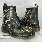 Dr Martens 1460 Deluxe Women's Size 7 Special Edition Gold Studded Combat Boots