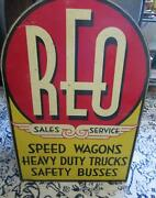 Authentic Reo Sales And Service Tombstone Sign Rare