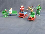 Lot 10 Lead Barclay Figures Christmas Winter Sports Ice Skaters Sled Riders