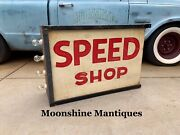 Custom Made - Vintage Style Hot Rod Speed Shop Light Up Sign - Gas And Oil