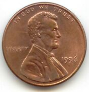 Usa 1996 American One Cent Lincoln Penny 1c Coin Lot D