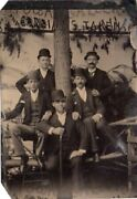 Great 6th Plate Tintype 5 Men Bowler Hats Cane Saratoga Gallery N.y.on Image