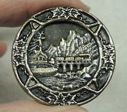 Antique Tinted Brass Picture Button Union Pacific Railroad Train In Mtns