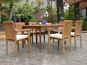7-piece Outdoor Teak Dining Set 71 Rectangle Table 6 Stacking Arm Chairs Lua