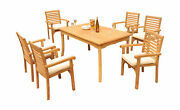 7-piece Outdoor Teak Dining Set 60andrdquo Rectangle Table 6 Stacking Arm Chairs Hari