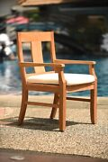 5-piece Outdoor Teak Dining Patio Set 36 Square Table 4 Arm Chairs Osbo