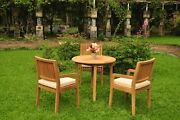4-piece Outdoor Teak Dining Patio Set 36 Round Table, 3 Arm Chairs Maldives