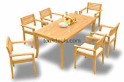 7-piece Outdoor Teak Dining Set 71andrdquo Rectangle Table 6 Stacking Arm Chairs Mont