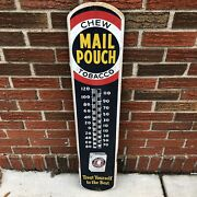 Vintage Mail Pouch Tobacco Mark 11 50 Tru Temp Thermometer Advertising Sign 1950