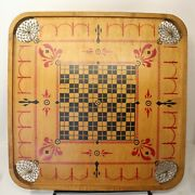 Antique Carrom Company Wood Game Board Double Sided Folk Art Painted Archarena