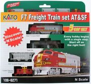 Kato 106-6271-dcc N Santa Fe F7 Freight Trains Without Track/dcc Set Of 5