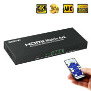 4x2 Hdmi Matrix 4k Hdmi Switch Splitter 4 To 2 Output+3.5mm Toslink Audio Out