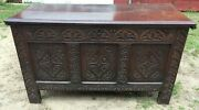 52 Antique English Trunk Coffer Hand Carved Early England Large