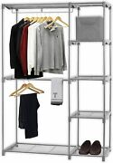 Heavy Duty Freestanding Clothes Garment Organizer Closet, Silver With 2 Hangers