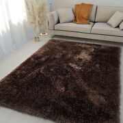 8and039x10and039 Feet Shag Shaggy Fluffy Fuzzy Furry Flokati Brown Color Area Rug Carpet