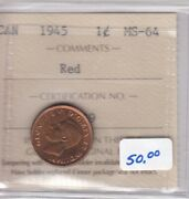 1945 Canada Small Cent - Iccs Ms-64 - Red - Cert Ie 239