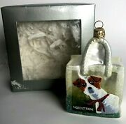 Nordstrom At Home Christmas Glass Ornament Terrier Dog Shopping Bag Poland