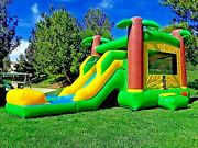 Commercial Inflatable Combo Bounce House Tropical Slide 100 Pvc Pool + Blower