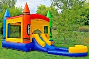 Commercial Inflatable Bounce House Crayon Wet Dry Slide 100 Pvc Pool And Blower