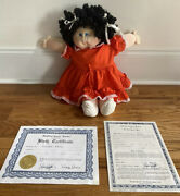 1982 Xavier Roberts Signed Little People Doll Soft Sculpture Black Hair W Papers