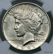 Key Date Ngc Ms61 1921 High Relief Silver Peace Dollar 1 Bc03