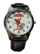 Rocky And Bullwinkle Themed Black Leather Band Wrist Watch