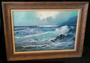 1970s California Oil Painting Seascape By Alexander A Dzigurski 1911-1995chh
