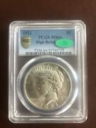 1921 Peace Dollar Pcgs Ms64 Cac High Relief Secure Gold Shield