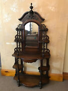 Antique Walnut Victorian Tiered Etagere W. Mirror And Shelves