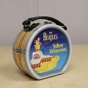 Vintage The Beatles Yellow Submarine Round Drum Shaped Collectable Lunch Box Tin