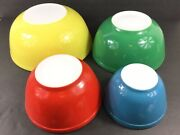 Vintage Pyrex Mixing Bowls 401 402 403 404 Red Yellow Green Blue Primary Colors