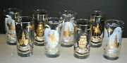 Vintage Set Of 8 Libbey Independence Hall 1960and039s Glassware Gold Gild Rim