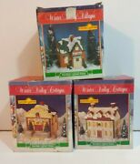Winter Valley Cottages Porcelain Lighted Houses Lot Of 3 Christmas Village