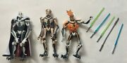 Star Wars Lot Of 3 Action Figures General Grievous Cape And 4 Sabers And Demise