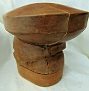 Antique Early 1900s Wooden Millinery Hat Block 5 Part Puzzle Stand Shop Display