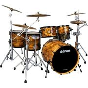 Ddrum Dios 5-piece Exotic Zebra Wood Shell Pack With 22 Bass Drum Gloss Natural