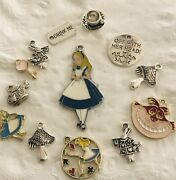Large Set Alice In Wonderland Inspired Charms. Set Of 13 Charms. A2