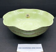 Newde Silva Terre D' Umbriagreen Large 12 Rustic Serving Bowlmade In Italy