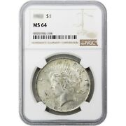 Common Date Peace Dollar Silver Ms64 Ngc